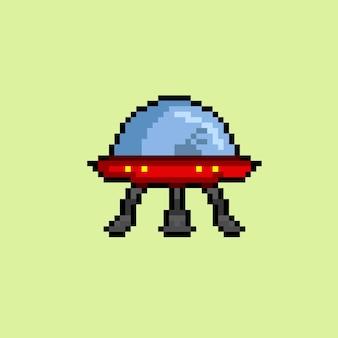 Nicht identifiziertes flugobjekt mit pixel im stil