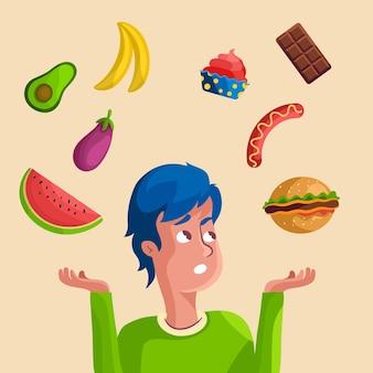 Nicht in der lage sein, zwischen gesundem und fast food zu wählen