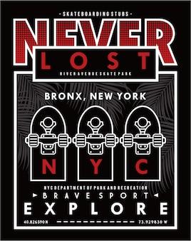 Nie verloren, vektor skateboard typografie illustration design grafik