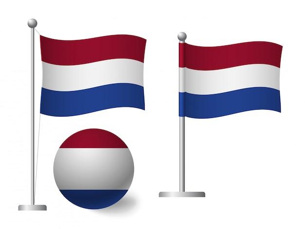 Niederländische flagge auf pole und ballikone