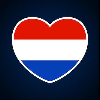 Niederländische flagge in form eines herzens. flaches herzsymbol der ikone der liebe auf der nationalflagge des hintergrundes. vektor-illustration.
