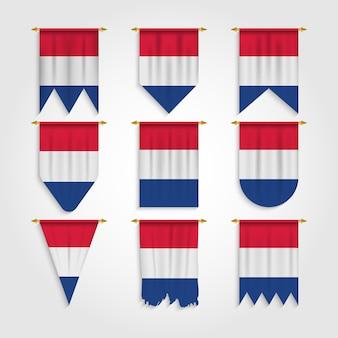 Niederländische flagge in verschiedenen formen