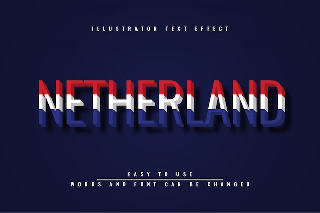 Niederlande bearbeitbare texteffektillustration
