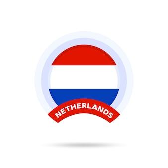Niederlande nationalflagge kreis schaltflächensymbol. einfache flagge, offizielle farben und proportionen korrekt. flache vektorillustration.