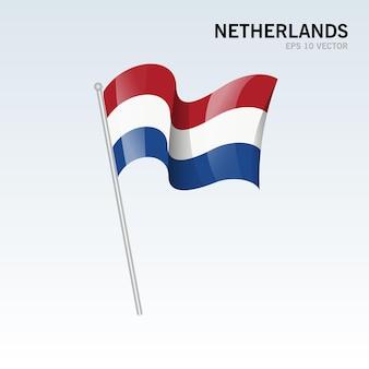 Niederlande wehende flagge isoliert auf grau