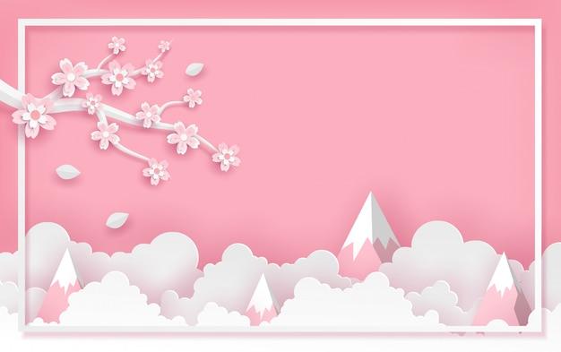 Niederlassung und kirschblüte blühen rahmenschablone mit wolken und berg im vektorpapierkunstkonzept.