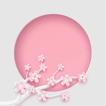 Niederlassung und kirschblüte-blumenrahmen kreisen schablone im vektorpapierkunstkonzept ein.