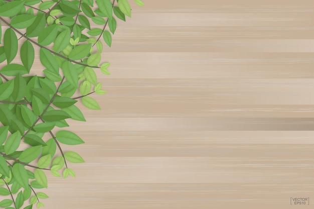Niederlassungen des grüns verlässt auf braunem hölzernem beschaffenheitshintergrund.