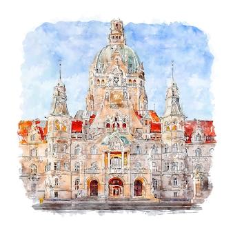 Niedersachsen deutschland aquarell skizze hand gezeichnete illustration