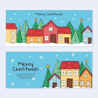 Niedlich gezeichnete weihnachtsstadtfahnen gesetzt