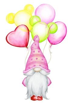 Niedlich, gnom, in rosa, hut, steht, mit luftballons, luftballons, verschiedenen farben. aquarell, konzept, auf einem isolierten hintergrund, für den feiertag, valentinstag.