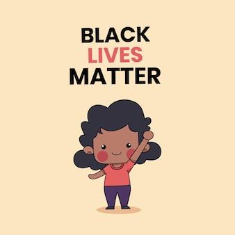 Niedlich oder leute mit den worten black lives matter geschrieben auf hintergrund. schwarze geschichte monat illustration