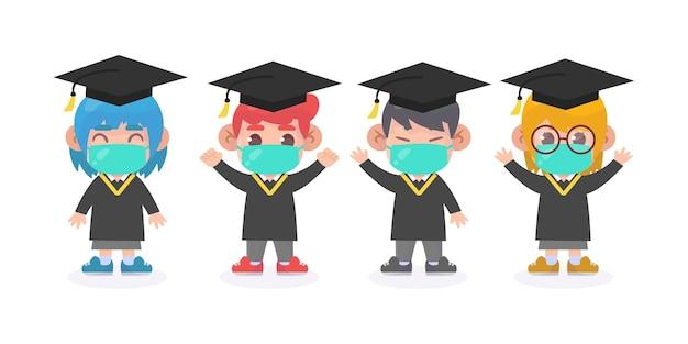 Niedliche absolventen, die medizinische maskenillustration tragen