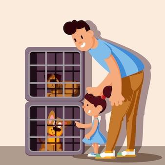 Niedliche adoptieren eine haustierillustration