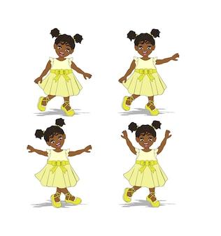 Niedliche afroamerikanische mädchenfigur mit gelbem kleid