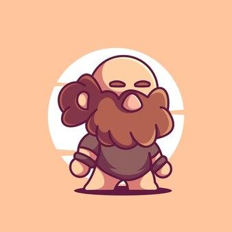 Niedliche alte mann maskottchen vektor icon cartoon charakter illustration