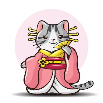 Niedliche amerikanisch kurzhaar-katze auf kimonokostüm cartoon.