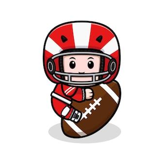Niedliche amerikanische fußballspieler-umarmungsball-maskottchenillustration