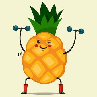 Niedliche ananas-zeichentrickfigur, die übungen mit hanteln macht. gesund essen und fit. illustration lokalisiert auf hintergrund.