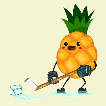 Niedliche ananas-zeichentrickfiguren, um mit einem stück eis hockey zu spielen. gesunde ernährung und fitness. vektorillustration lokalisiert auf hintergrund.