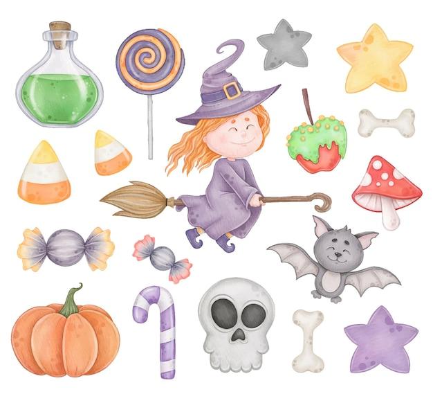 Niedliche aquarell-halloween-clipart mit witch