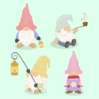 Niedliche aquarellart gnome eingestellt