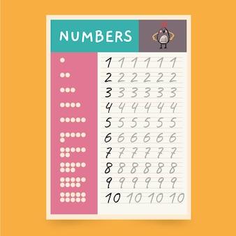 Niedliche arbeitsblattvorlage zur nummernverfolgung