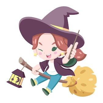 Niedliche art kleine hexe auf einer besenkarikaturillustration