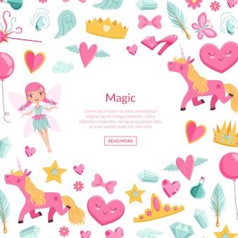 Niedliche artoon magie- und märchenelemente mit platz für textillustration