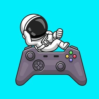 Niedliche astronaut chill entspannung auf game controller cartoon vector icon illustration. technologie-wissenschaft-symbol-konzept isoliert premium-vektor. flacher cartoon-stil