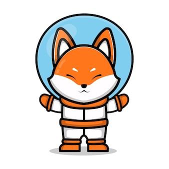 Niedliche astronaut fuchs cartoon tier weltraum konzept illustration