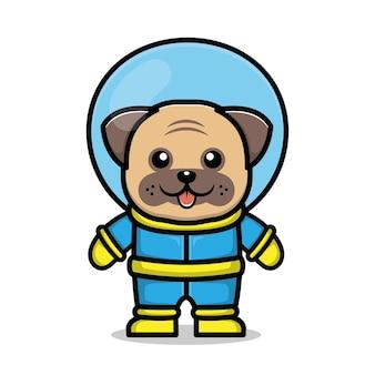 Niedliche astronaut hund cartoon tier weltraum konzept illustration