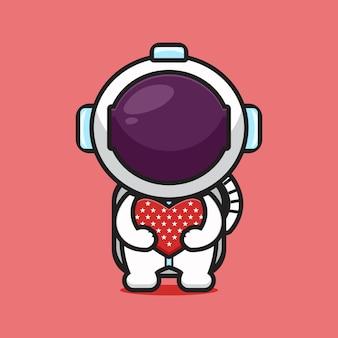 Niedliche astronaut umarmung liebe feiern amerika unabhängigkeitstag cartoon symbol vektor illustration. design isoliert auf rot. flacher cartoon-stil.