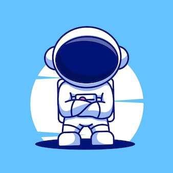 Niedliche astronauten-cartoon-maskottchen-illustration-vektor-symbol