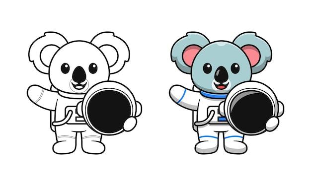 Niedliche astronauten-koala-cartoon-malvorlagen für kinder
