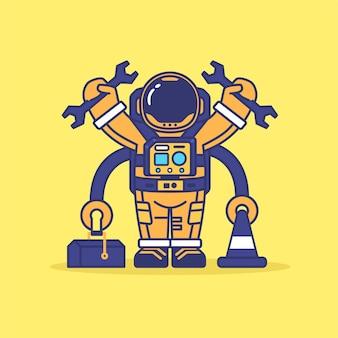 Niedliche astronauten-maskottchen-wartungskonzeptillustration