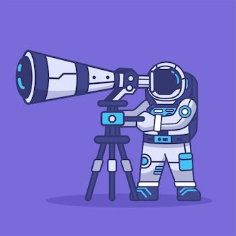 Niedliche astronauten-maskottchen-zeichentrickfigur mit teleskopen für die erforschung der weltraumforschung