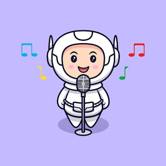 Niedliche astronauten-singende karikaturillustration. flacher cartoon-stil