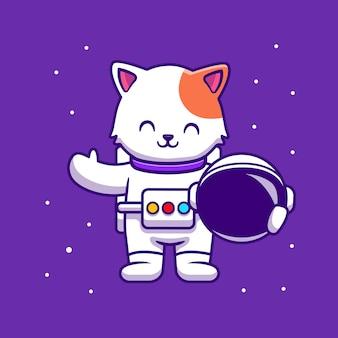Niedliche astronautenkatze, die helm-karikatur hält
