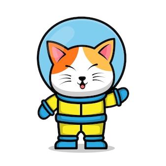 Niedliche astronautenkatzenkarikaturtierraumkonzeptillustration