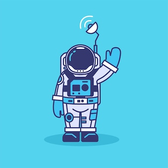 Niedliche astronautenmaskottchenillustration