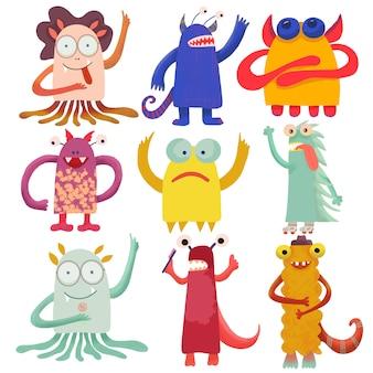 Niedliche attraktive monster eingestellt für druckdesign. symbolsammlung. nette monstersammlung. glückliche kinderkarikatursammlung. personen-icon-set. handzeichnung. lustige zeichentrickfigur. weißer hintergrund