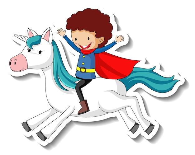 Niedliche aufkleber mit einem heldenjungen, der eine einhorn-cartoon-figur reitet