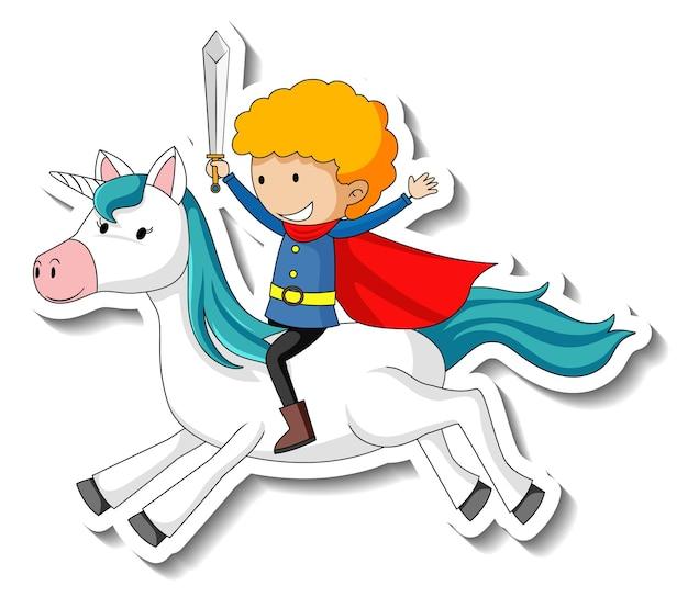 Niedliche aufkleber mit einem ritter, der auf einem einhorn-cartoon-charakter reitet