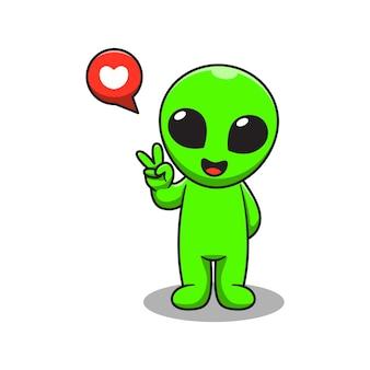 Niedliche außerirdische karikaturillustration mit zwei fingern