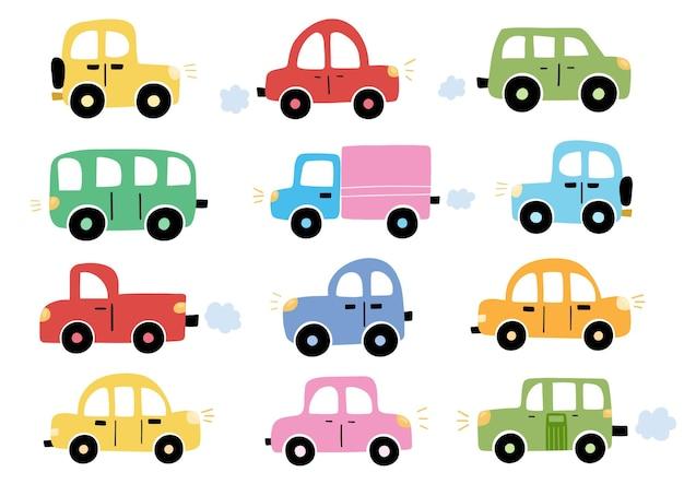 Niedliche autos im cartoon-stil sammlung transport