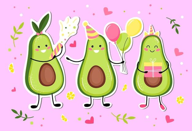 Niedliche avocadofrucht, die einen feiertag, geburtstag feiert. niedliche kawaii avocadofrucht.