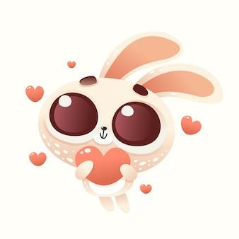 Niedliche baby-amor-kaninchen-liebe
