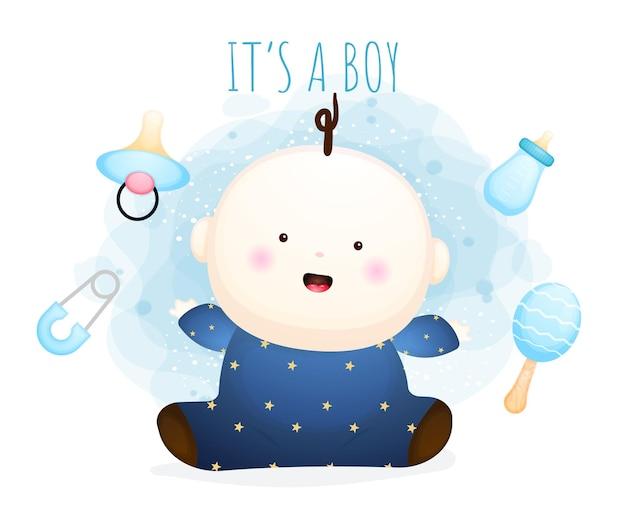 Niedliche baby-cartoon-figur. babyelementillustration premium-vektor