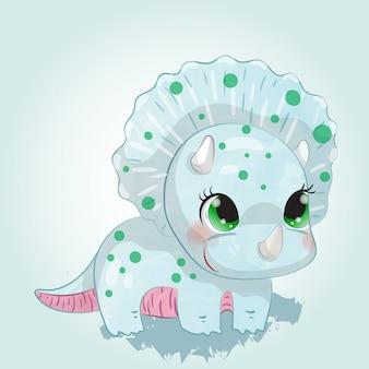 Niedliche baby dino aquarellzeichnung